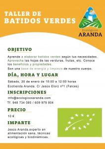 Cartel Taller Batidos Verdes 2018 - Noticias Ecológicos Aranda