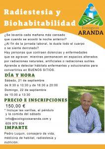 Cartel Curso Radiestesia y Biohabitabilidad - Noticias Ecológicos Aranda