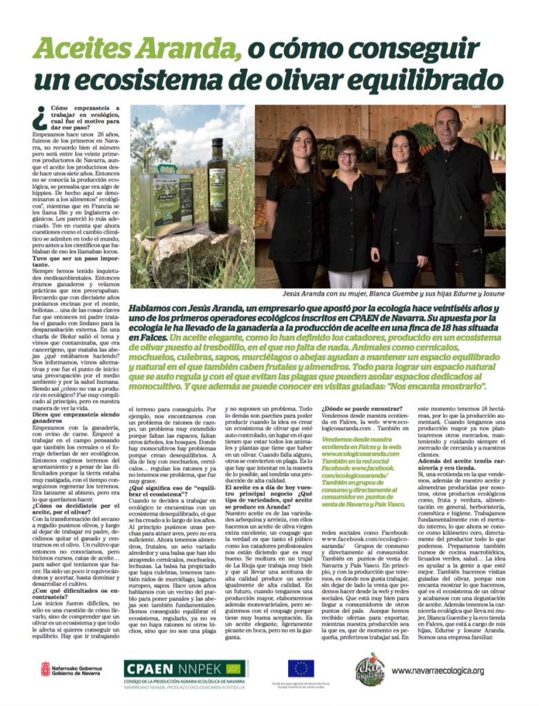 Artículo Diario de Navarra - Noticias Ecológicos Aranda