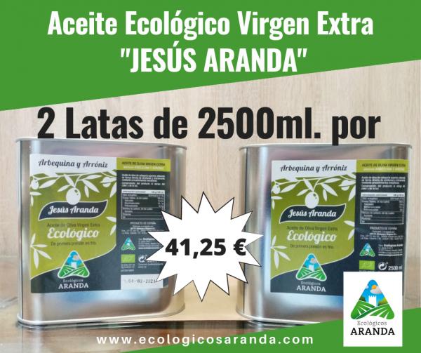 """Foto 2 Latas de Aceite Ecológico Virgen Extra """"Jesús Aranda"""" - Tienda online Ecológicos Aranda"""